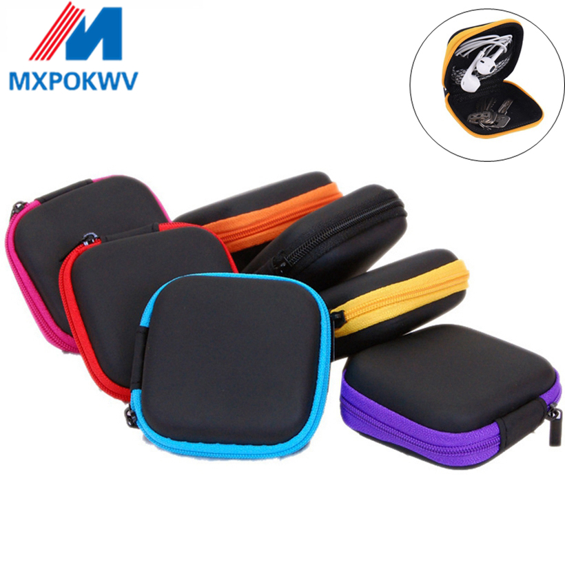 Mini Zipper Hard Headphone Case PU Leather Earphone Storage Bag Protective USB Cable Organizer Portable Earbuds Box Bag-in Earphone Accessories from Consumer Electronics
