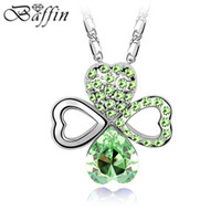 Wholesale Sapphire Jewelry Clover Pendant Necklace Made With Swarovski Crystal Collier Women Party Vintage Bijoux