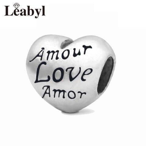 4 шт/лот серебряные подвески в форме сердца подходят для оригинальных