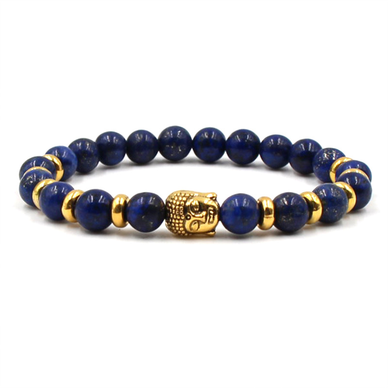 Hot Lion Owl Buddha Head Animal Bracelet Men Natural Stone Elastic Charm Beads Bracelets Bangles for Men Jewelry Pulseras