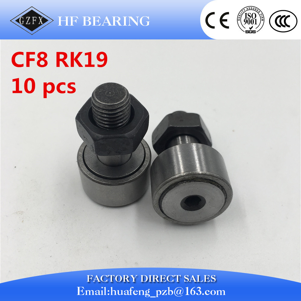 10 pcs KR19 KRV19 CF8 Cam Follower Needle Roller Bearing M8*1.25mm Wheel And Pin Bearing na4910 heavy duty needle roller bearing entity needle bearing with inner ring 4524910 size 50 72 22