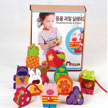 Infant children Cartoon animals fruit beaded 12pcs toy wooden material threading game DIY Beads Toys wood Building blocks gift