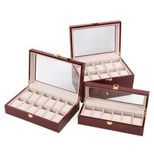New Wood Watch Display Boxes Case Light Red Wooden Watches Organizer Holder With Window Storage Jewelry Gift Boxes