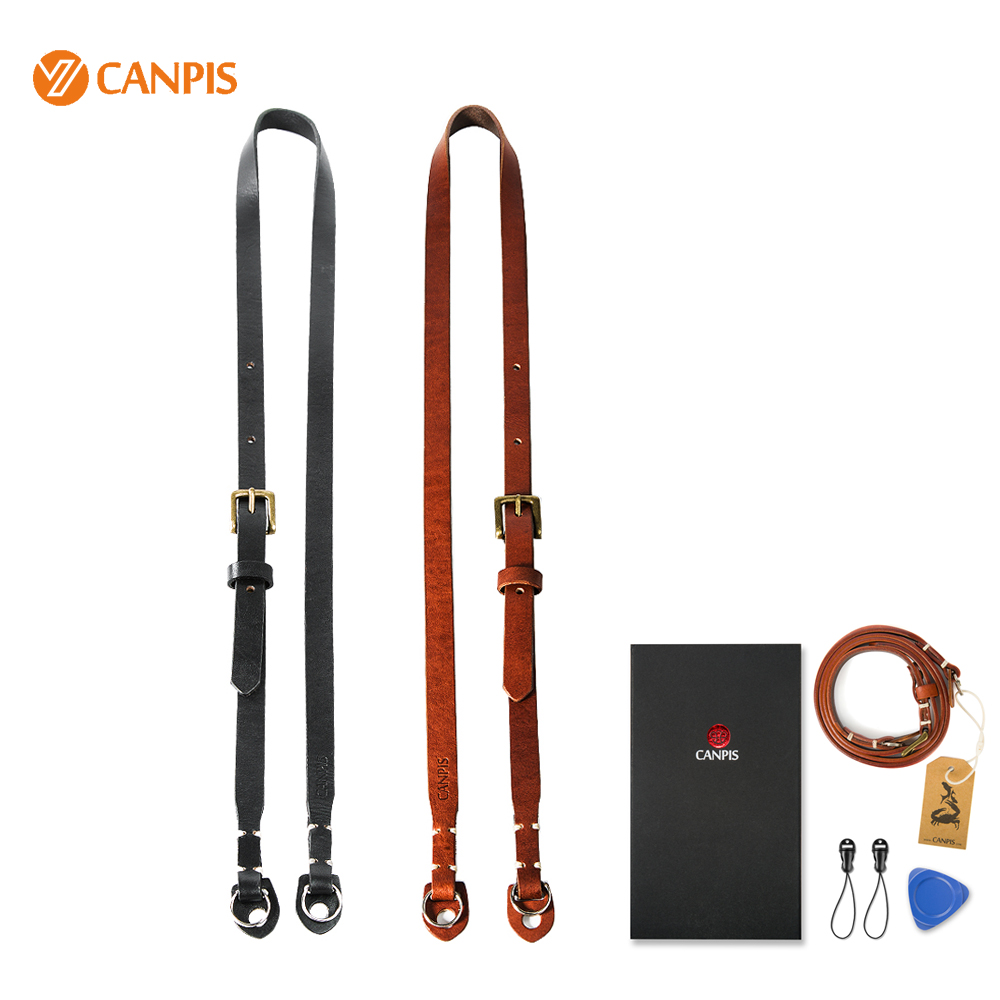 CANPIS Adjustable Brown and Black Leather Camera Strap with Shoulder Support for Micro Digital Camera