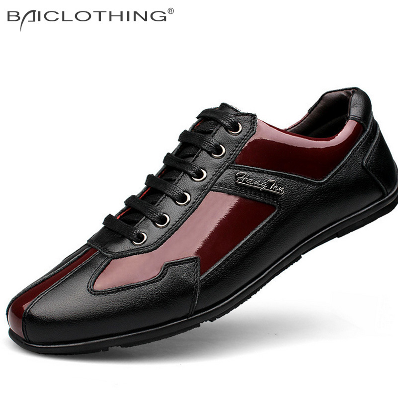ФОТО Discounts Large Size Genuine Leather Splicing Men Casual Shoes 2016 Spring Autumn Fashion Breathable Lace-up Flat Shoes