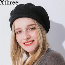 Xthree sombrero de invierno para las mujeres Cachemira sombrero de la boina  hilo de seda brillante e02866f7ece