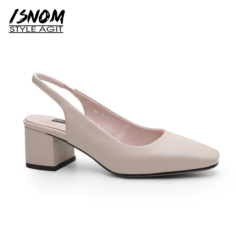 ISNOM 2019 Leather Thick High Heeled Sandals Women Square Toe Back Strap Footwear Fashion Summer Office