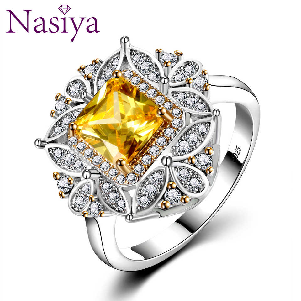Luxury Square Citrine Rings For Women Genuine 925 Sterling Silver