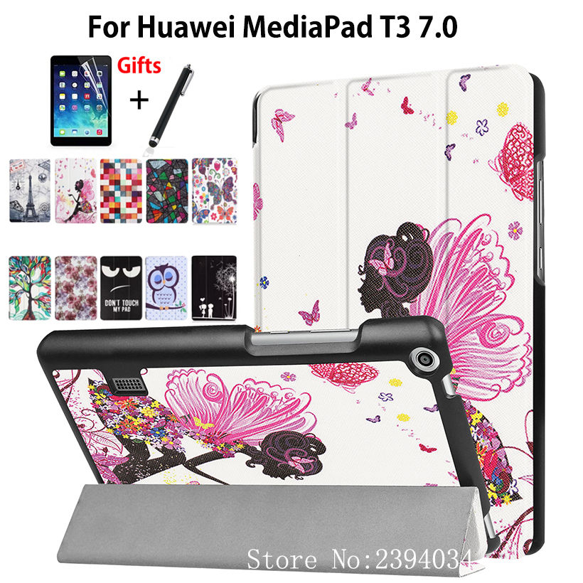 Fashion Girl Case For Huawei MediaPad T3 7.0 BG2-W09 Smart Cover PU leather Funda Tablet for Honor Play Pad 2 7.0 Skin +Film+Pen for huawei mediapad t3 7 0 wifi case soft silicone case cover for huawei mediapad t3 7 0 bg2 w09 7 inch tablet pc gifts