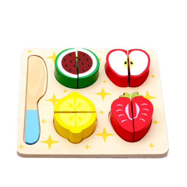 New Arrival House Kitchen Pretend Play Toys Wooden Fruit Jigsaw Puzzle Cut Pieces Montessori Educational Toys Free Shipping