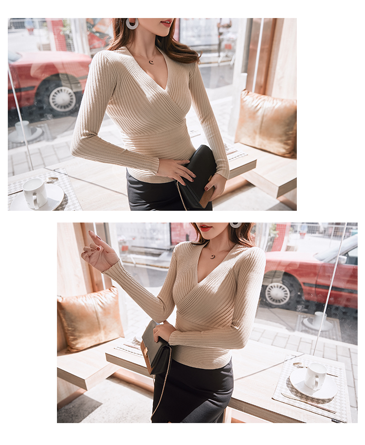 19 New Sexy Deep V Neck Sweater Women's Pullover Casual Slim Bottoming Sweaters Female Elastic Cotton Long Sleeve Tops Femme 11