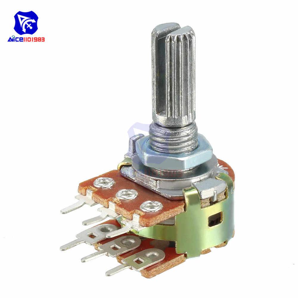 5 шт./лот резистор потенциометра 1K 2K 5K 10K 20K 50K 100K 500K Ом WH148 6 Pin Линейный Конус поворотный потенциометр для Arduino