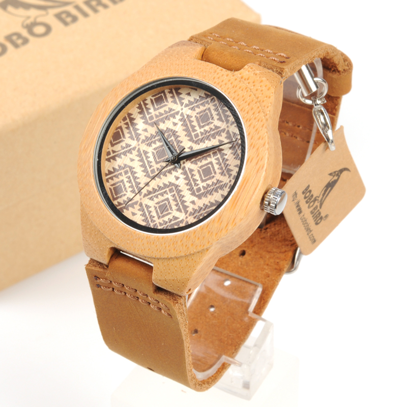 BOBO BIRD WF17L18 Retro Grain Dial Face Bamboo Wooden Watches Wood Watches for Men Women bobo bird l b07 bamboo wooden women watches for men casual wood dial face 2035 quartz watch soft silicone strap extra band