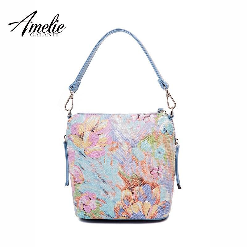 AMELIE GALANTI женские сумки модные цветочные сумки на плечо Sof PU Leanther ткань ведро сумки для женщин повседневные сумки