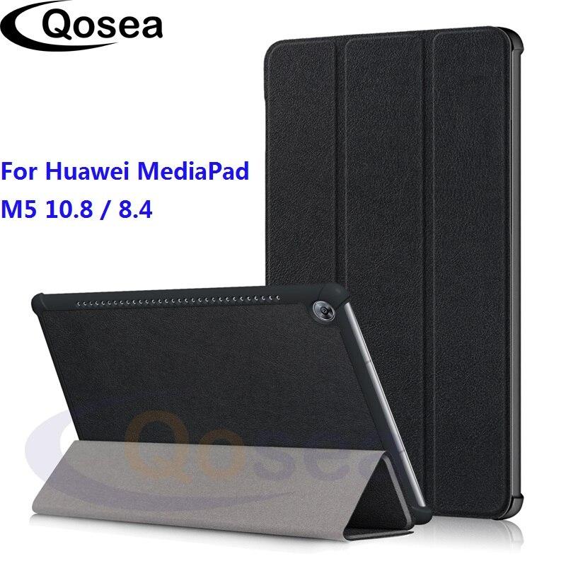 M5 Qosea Para Huawei MediaPad 10.8 Estojo Luxo Virar PU LEATHER M5 Inteligente Stand Case Para Huawei MediaPad 8.4 Tablet tampa do suporte