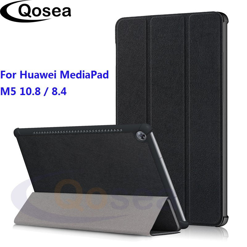 Qosea For Huawei MediaPad M5 10.8 Luxury Holster Flip PU Leather Smart Stand Case For Huawei MediaPad M5 8.4 Tablet Stand Cover