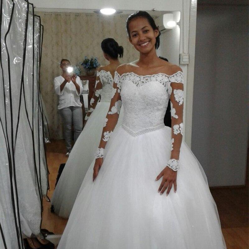 Fansmile Long Sleeve Vestido De Noiva Lace Wedding Dress 2019 Tulle Customized Plus Size Wedding Gowns Bridal Dress FSM-471F
