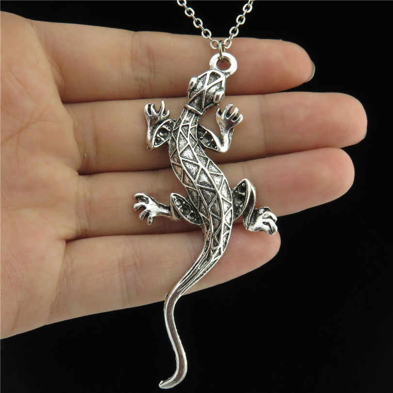 "Q2226 Vintage Silver Alloy 73mm Long Animal Cabrite Lizard Pendant Choker Chain Necklace 18"" Women Jewelry Free Shipping"