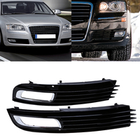 1 Pair New Black Front Right&Left Bumper Fog Light Lamp Cover Grille Grill For Audi A8 2008 2009 2010 Car Accessories