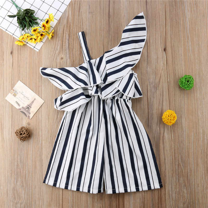0ec969ed28b ... Baby Girls clothes one shoulder Ruffle striped strap cotton Romper  summer kids Toddler sleeveless newborn Jumpsuit ...