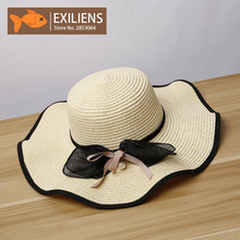 [EXILIENS] 2017 New Lady Fashion Summer Brand Women's Sun Hats Woman Caps Wave Straw Big Brim Hat Bow-knot Shade Sunscreen Girl