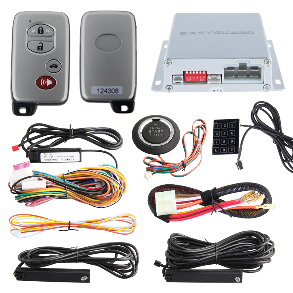 PKE psssive keyless entry car alarm system with auto start & push button start stop touch password entry auto lock unlock цена и фото