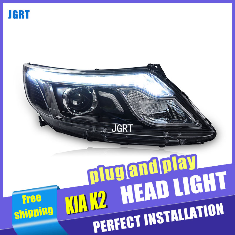 Car Styling for Kia K2 LED Headlight Korea Style Rio Headlights DRL Lens Double Beam H7 HID Xenon bi xenon lens qiachip 433mhz universal wireless remote control switch dc 12v 2 ch relay receiver module rf transmitter 433 mhz remote controls