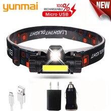 12000LM puissant phare XPE + COB USB Rechargeable phare intégré batterie tête lumière étanche tête torche Camping lampe frontale