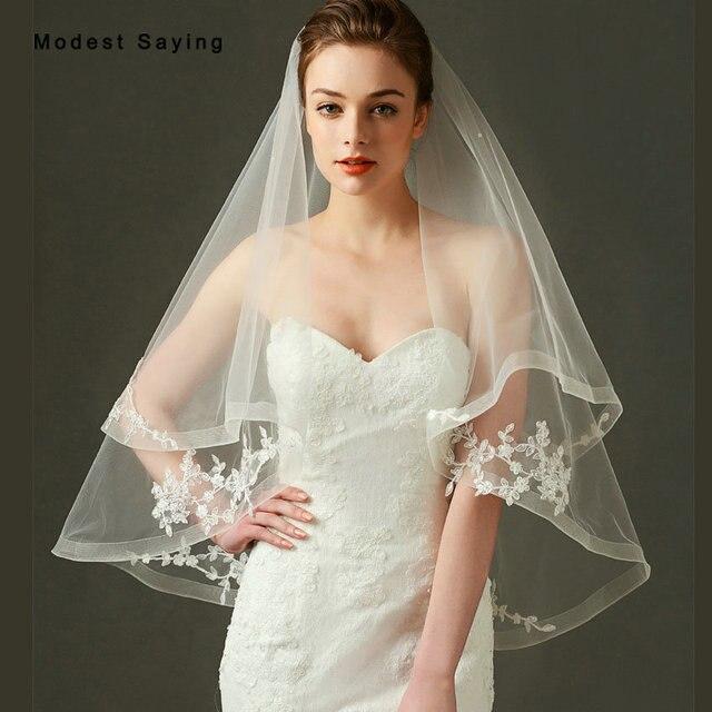 Elegant Ivory Two-Layer Beaded Lace Wedding Veils 2018 with Comb Church Elbow Bridal Veils Wedding Accessories velos de novia