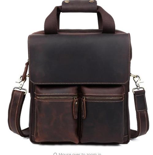 Vintage Handmade Crazy Horse Leather Men's Briefcase Commuter Shoulder 13 inch laptop fashion handbag Messenger Handbag