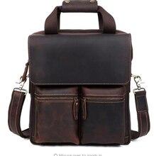 Vintage Handmade Crazy Horse Leather Mens Briefcase Commuter Shoulder 13 inch laptop