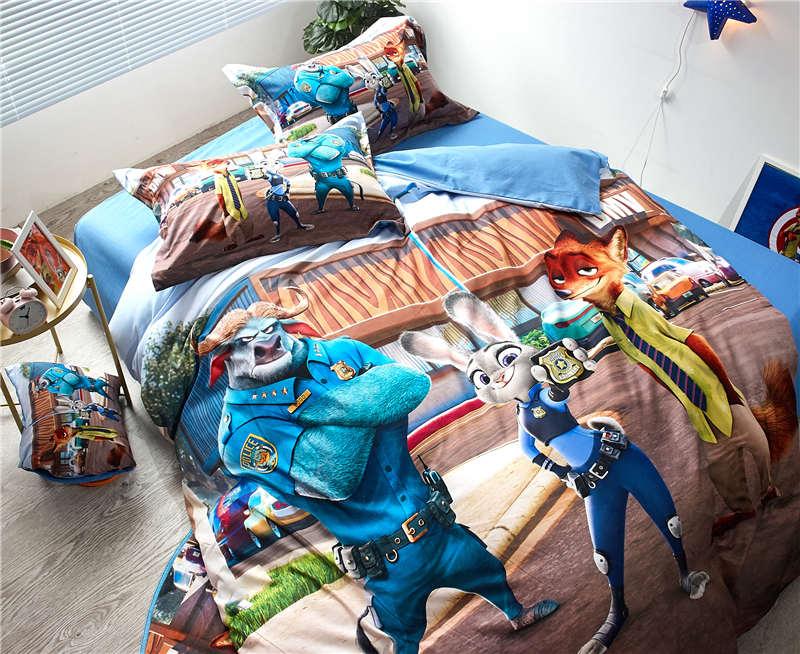 Zootopia Judy Nick Printed duvet cover 3/4/5pcs sanding warm bed sheet single/twin full/queen size girls children home decor