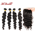 Peruvian Loose Wave With Closure Ali Annabelle Hair Peruvian Loose Wave Hair Bundles With Closure Peruvian 4 Bundles Loose Wave