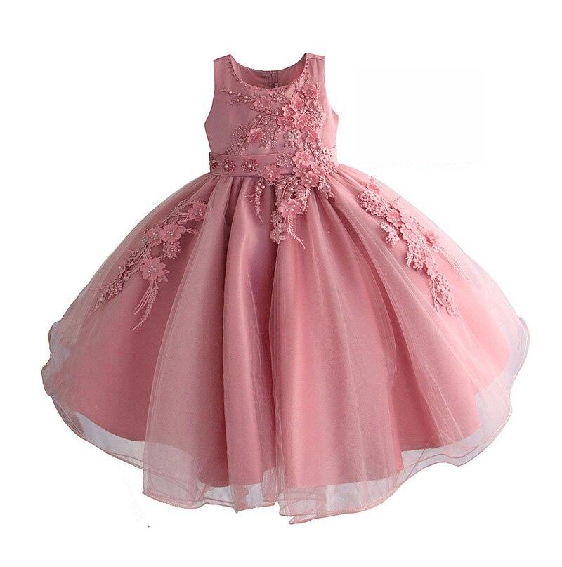 Girls Pink Embroidery Beading Dress 2019 Kids Summer Dresses For Girls Princess Dress Girl Party Evening