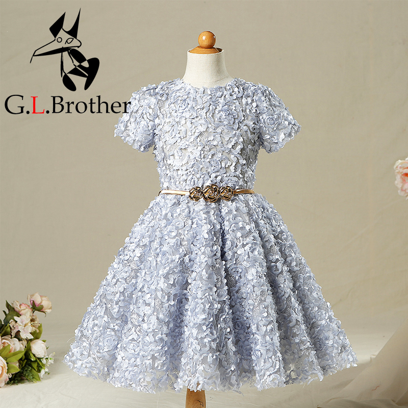 3-10 Years Vintage Flower Girl Dresses For Weddings Ball Gown Appliques Princess Girls Dress Kids Girl Evening Summer Dress A38