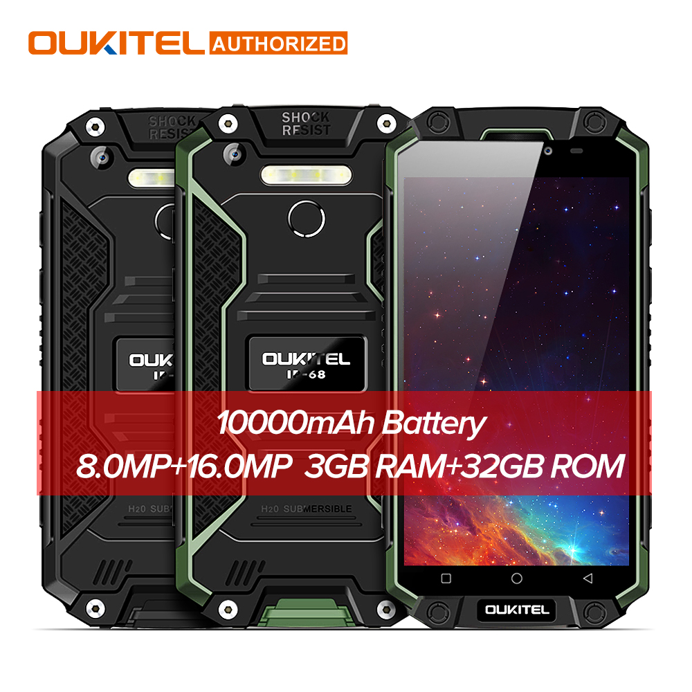 "Oukitel K10000 Max Waterproof Dustproof Shockproof Smartphone MTK6753 3G RAM 32G ROM 10000mAh Battery 5.5"" FHD Mobile Cellphone"