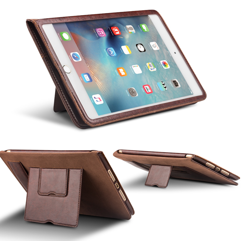 все цены на Qialino For iPad air Tablet Wallet Case Genuine Leather Flip Stents Dormancy Stand Cover for 9.7 air Auto wake & sleep Case Skin