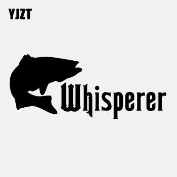 YJZT 16,5 CM * 6,8 CM pegatina de coche interesante pescado Whisperer bajo vinilo pegatina pesca negro/plata C24-0416
