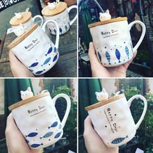 Japanese Coffee Mug 350ml Cute Cartoon Milk Mugs Breakfast Cup Cerami Creative Irregular Tea Cups with Lid and Spoon Lovely Gift