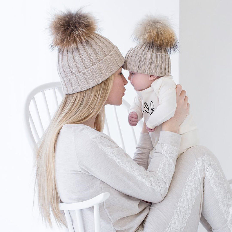 Emmababy Family Matching Look Winter Hat Mother And Child Baby Warm Winter Knit Beanie 2PCS/Set Fur Hat Cap