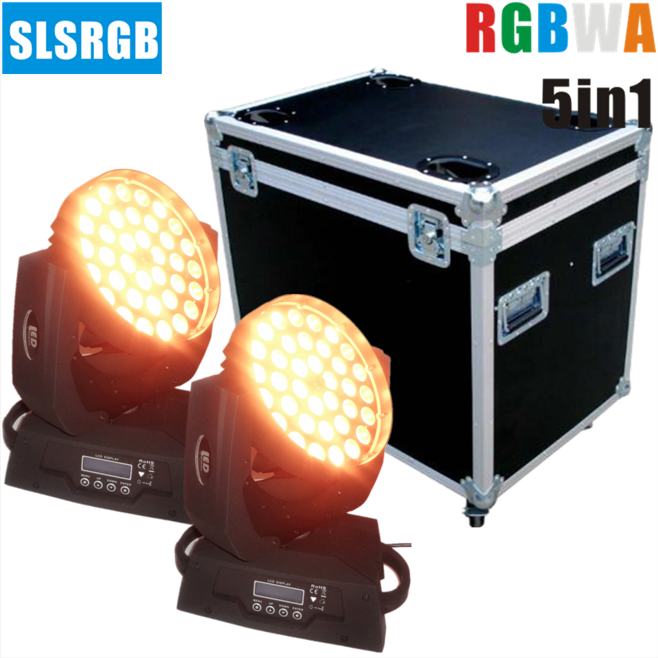 2pcs/lot with flightcase Stage Wash Moving Head (RGBWA) With Zoom, 15 Watt, x 36 LED ZOOM Moving Head wash beam light dmx dj