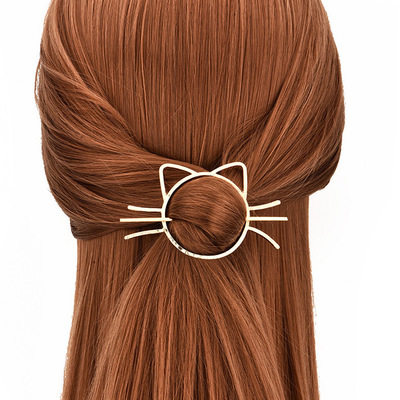 HuaTang Trendy Cute Cat Hair Card Issue Gold Color Hair Statement for Women Girl Elegant Hair Jewelry Accessories 3862