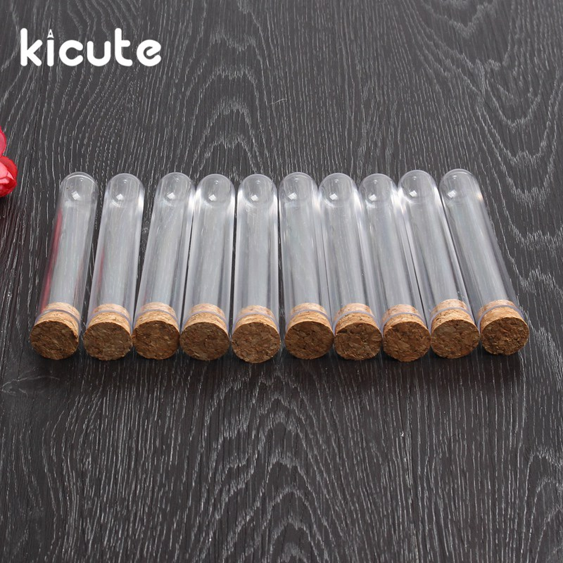 Kicute 10pcs/lot 18x100mm Transparent Plastic Test Tube With Cork Stopper Round Bottom School Laboratory Educational Supplies