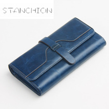 Women Wallet Genuine Leather Long Hasp Oil Waxing Cowhide Drew string Day Clutch Coin Purse Card