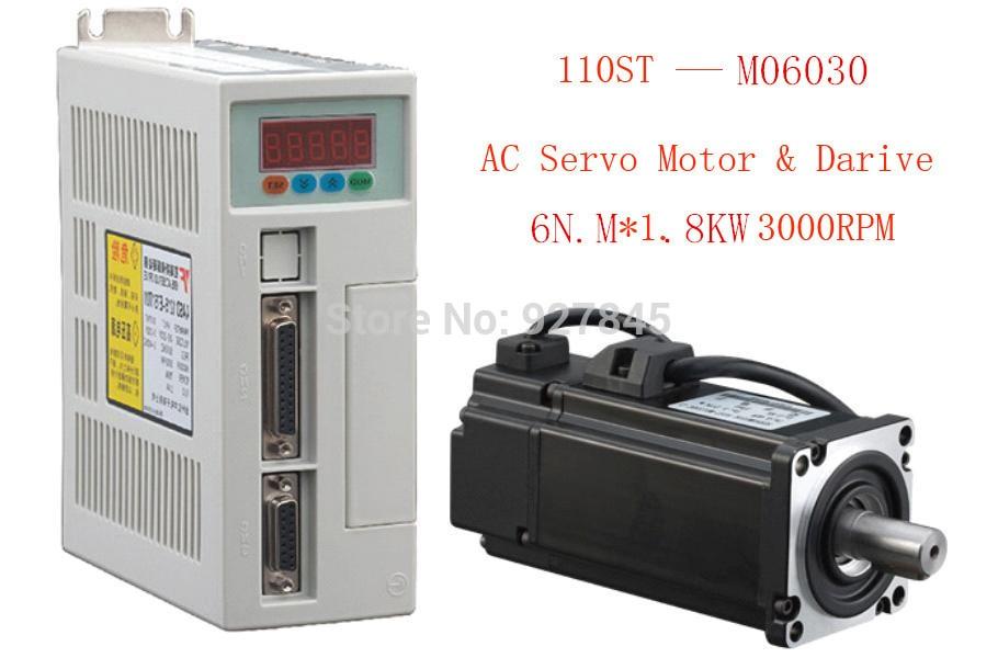все цены на New Servo system kit 6N.M 1.8KW 3000RPM 110ST AC Servo Motor Matched Servo Driver онлайн
