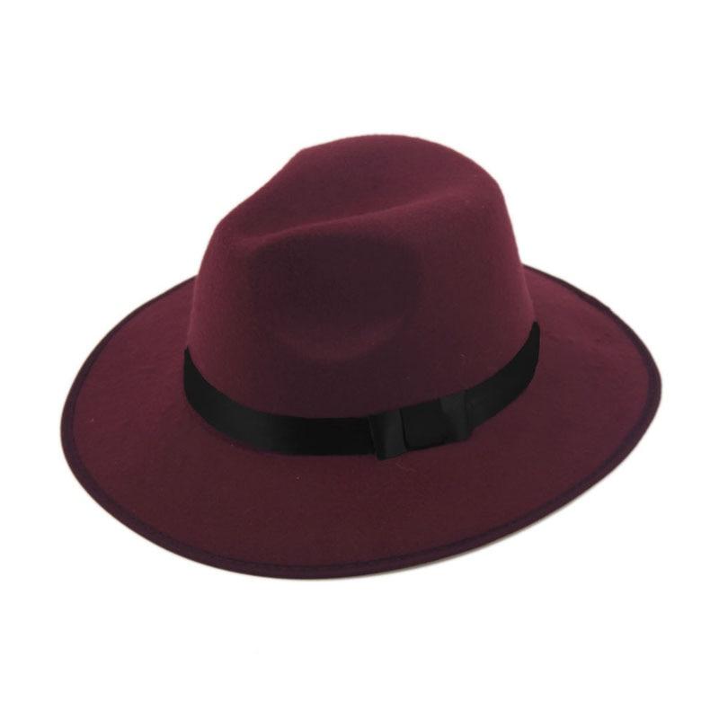 Модные Винтаж Для женщин шляпа с широкими полями ленты теплая шерсть Смеси фетровая шляпа котелок Fedora Кепки - Цвет: wine red