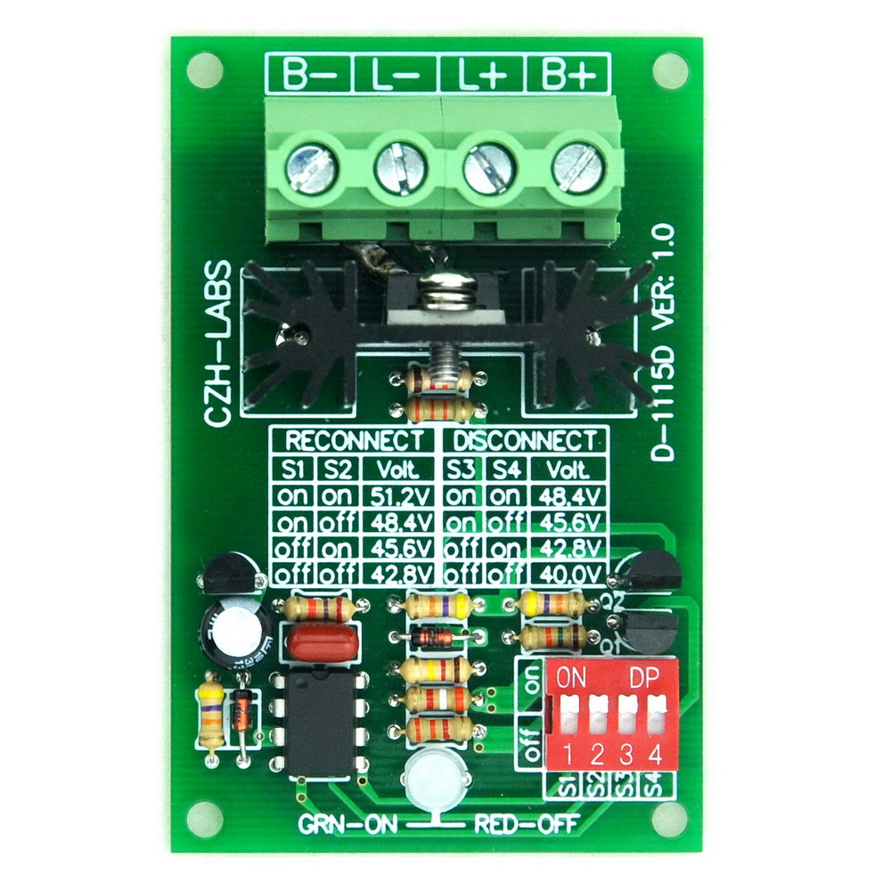 Low Voltage Disconnect Module LVD, 48V 30A, Protect/Prolong Battery Life.Low Voltage Disconnect Module LVD, 48V 30A, Protect/Prolong Battery Life.