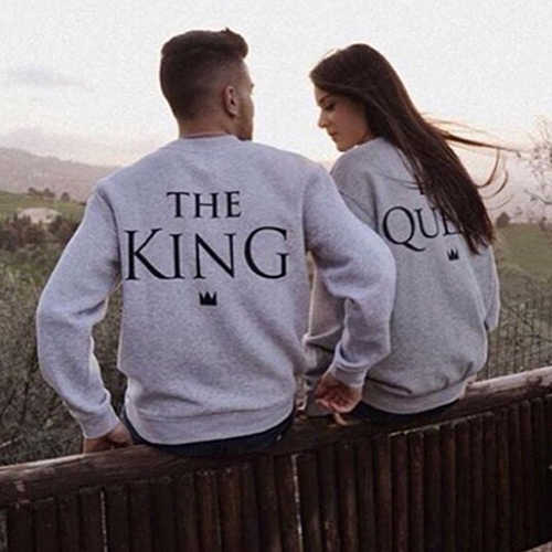 Women Men Couple King Queen Letter Print Long Sleeve Lover Sweatshirts