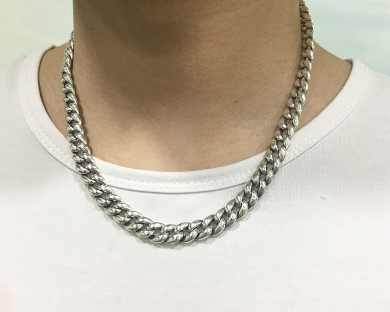 100% Silver 925 Bold Link Chain Necklace For Mens 7mm Chunky Chain Necklace Simple Classic Design Sterling Silver Mens Jewelry