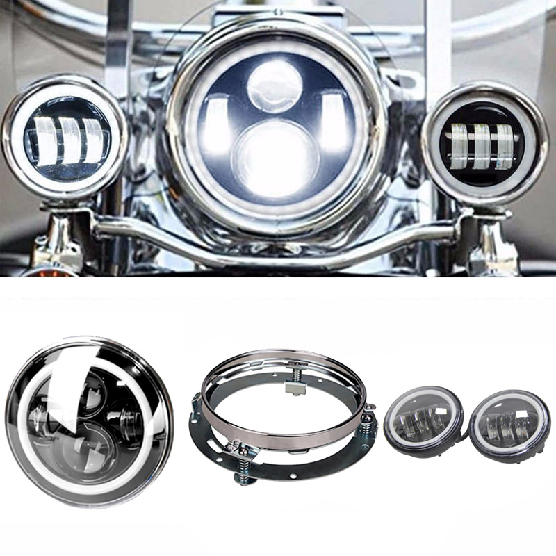 7 Round LED Headlight DRL Hi/Lo Beam And Bracket+ 4.5 Harley White Angel Eyes Halo Ring DRL Led Fog Lights For Harley Davidson free shipping kia k5 exclusive use led angel eyes square round shape full set custom made drl two colors white yellow 18w 12v